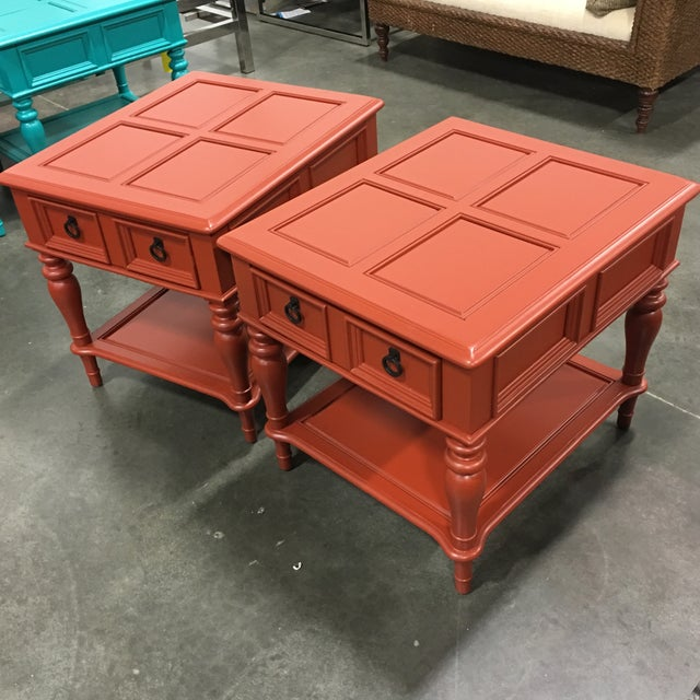 Bassett Orange End Table - Pair - Image 6 of 6