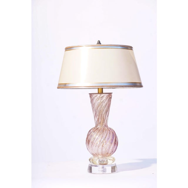 Vintage Italian Murano Lavender Lamps With Lucite Bases For Sale - Image 4 of 5