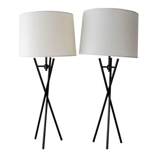 Room and Board Black Tripod Lamps - a Pair For Sale