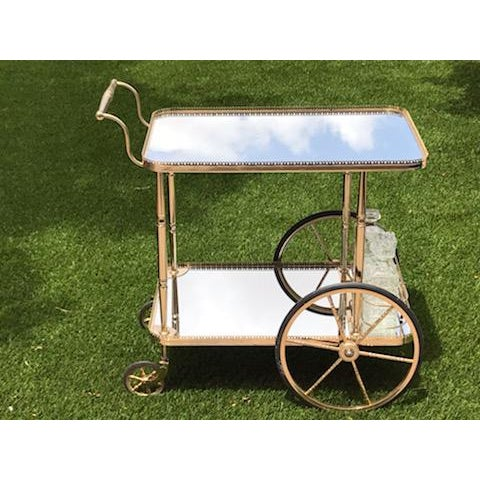 Gold Mid Century French Hollywood Regency Brass Bar Cart W/ Mirrored Trays For Sale - Image 8 of 12