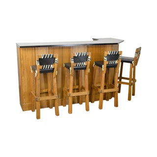 Brandt Ranch Oak Bar w/ 4 Stools
