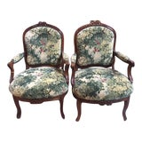 Image of 19th C. French Walnut Arm Chairs - a Pair For Sale