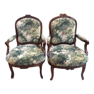 19th Century French Walnut with Bow Motif Tapestry Fabric Arm Chairs - a Pair For Sale
