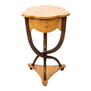 Mid 20th Century Burled Walnut Stand For Sale