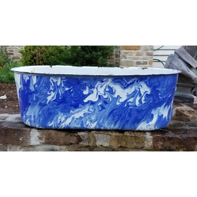 Large Blue and White Enamel Ware Sink For Sale - Image 10 of 10