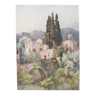 1905 Original Italian Print - Italian Travel Colour Plate - La Madonna Della Pace, Lago DI Como For Sale