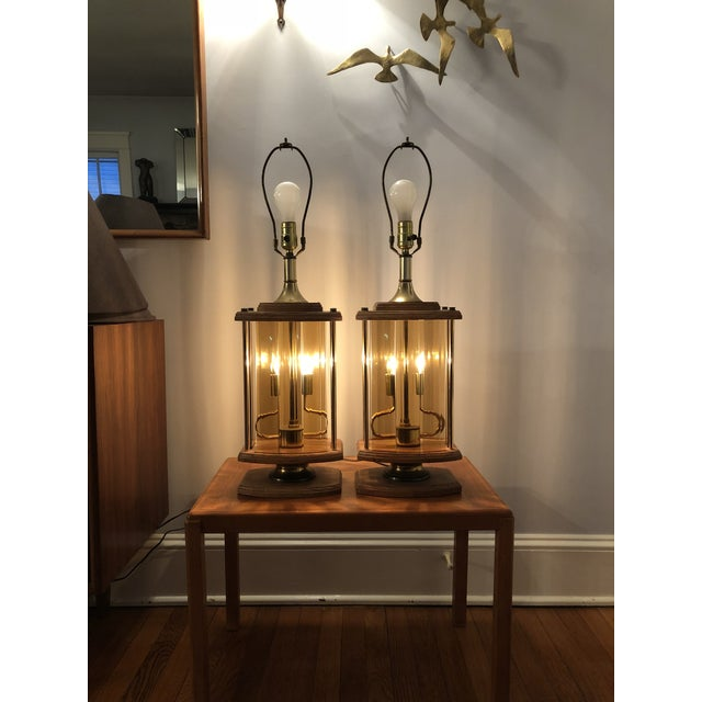 Mid-Century Modern 1970s Mid Century Modern Smoked Beveled Pane Wood Lamps - a Pair For Sale - Image 3 of 6