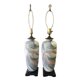 Mid-Century Chinese Porcelain Lamps - a Pair For Sale