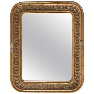 Postmodern Bamboo Wicker Rattan Mirror For Sale