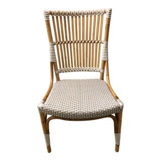 White Rattan Pole Side Chair