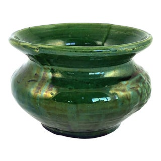 1940s Vintage Deep Green Glazed Ceramic Planter For Sale