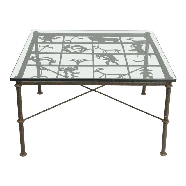Metal and Glass Square Brutalist Coffee Table With Native American Glyph Figures For Sale