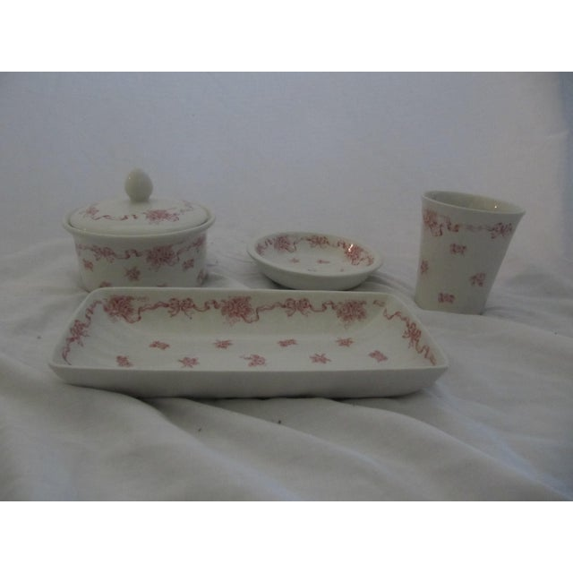 English Traditional Vintage Laura Ashley Pink Ribbons Vanity Set-4 Pieces For Sale - Image 3 of 6