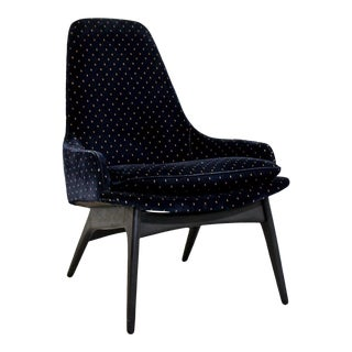 Mid-Century Modern Rare Adrian Pearsall Blue Lounge Chair For Sale