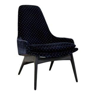 Mid-Century Modern Rare Adrian Pearsall Blue Velvet Lounge Armchair 1970s For Sale