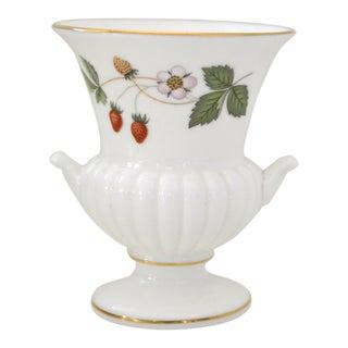 Vintage Wedgwood Porcelain Campana Small Vase White Gold Strawberries