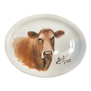 Mid 20th Century Hand-Painted Cow Plate For Sale