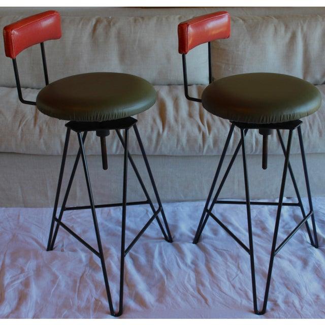 Mid Century Modern Italian Wrought Iron Adjustable Height Bar Stools Arthur Umanoff Style- a Pair For Sale - Image 11 of 11