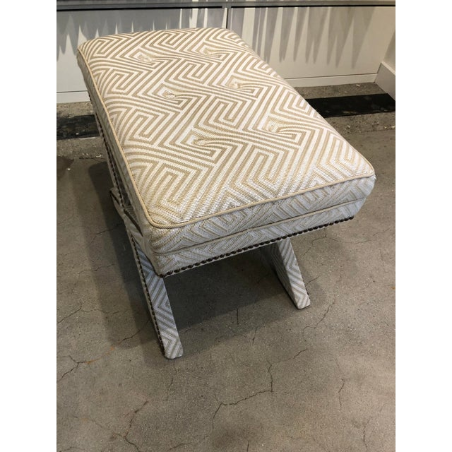 Boston showroom sample Upholstered X base bench with button tuft top French Natural nails upholstered in Scalamandre...