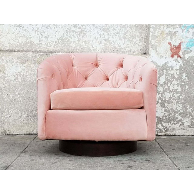 Vintage Milo Baughman for Thayer Coggin Pink Velvet Swivel Chair ...