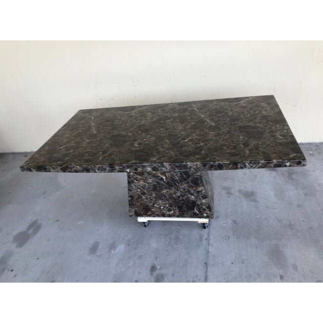 1980s Maurice Villency Style Marble Dining Table For Sale - Image 5 of 13