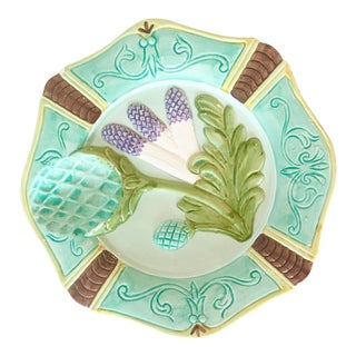 Vintage Seymour Mann Majolica Dish With Wheat Motif For Sale