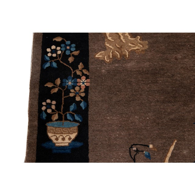 Coffee Early 20th Century Antique Art Deco Chinese Piking Wool Rug For Sale - Image 8 of 13