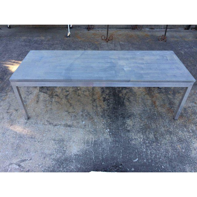 1990s Minimalistic Slate Coffee Table With Aluminum Base For Sale - Image 4 of 11