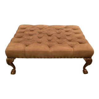 Century Tufted Suede Cocktail Ottoman For Sale