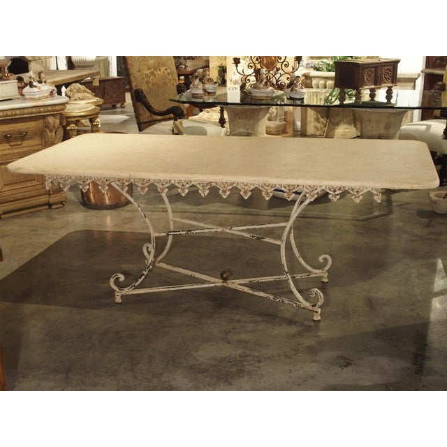 Large Antique French Iron and Marble Butcher Display Table, Circa 1915 For Sale In Dallas - Image 6 of 11