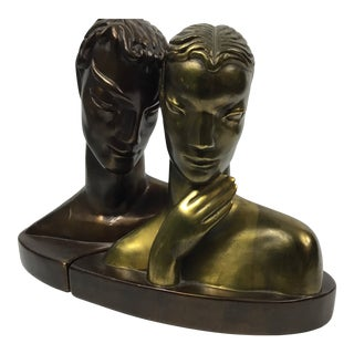 Loving Couple Art Deco Bronze Sculpture For Sale