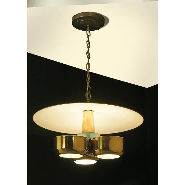 Mid-Century Modern Gerald Thurston Brass Ceiling Pendant Light for Lightolier, Circa 1950's For Sale - Image 3 of 6