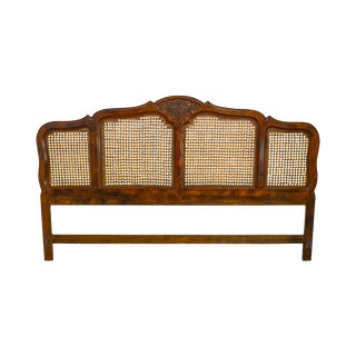 French Country Style Carved Oak Cane Panel King Size Headboard