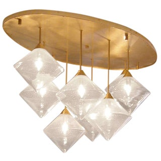 Customizable Brass and Glass Ceiling Fixture For Sale