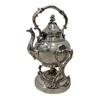 Silver Britannia Electro Plate Teapot on Tilting Stand W/ Burner For Sale