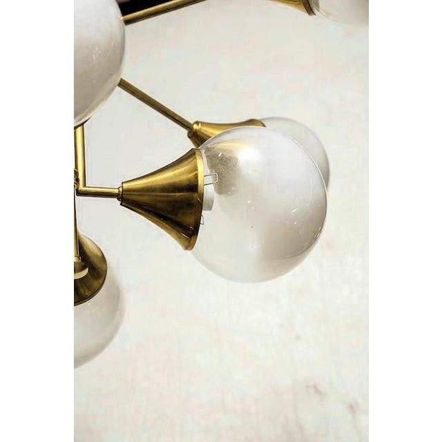 Stilnovo Mid Century Modern 10 Lights Chandelier, Attr to Stilnovo, Italy, 1960s For Sale - Image 4 of 6