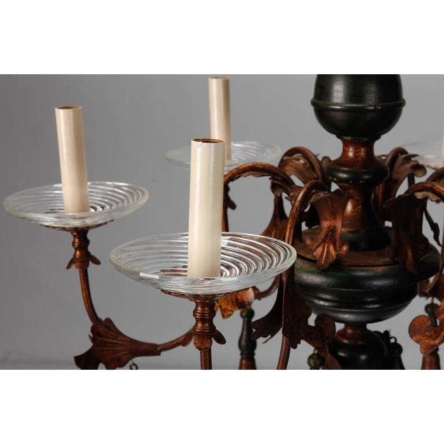 Italian Wood And Gilt Metal Six Arm Chandelier For Sale - Image 4 of 5