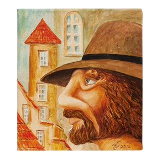 """2012 Vlad Pronkin """"Italian Man or Thinking of You"""" Surrealist Painting, Signed For Sale"""
