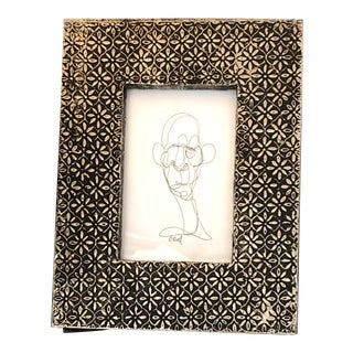 Original Contemporary Cody Orrell Small Giacometti Style Ink Portrait Drawing Vintage Metal Coated Frame For Sale
