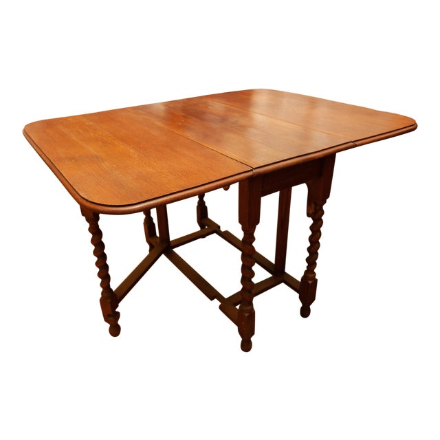 20th Century Traditional Oak Barley Twist Gate Leg Drop Leaf Table For Sale