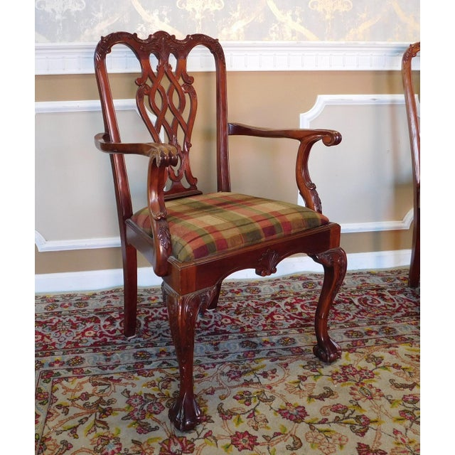 1990s Reproduction Solid Mahogany Chippendale Style Dining Chairs - Set of 10 For Sale - Image 5 of 11
