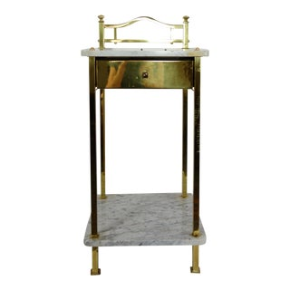 1920s Antique Two-Tiered Marble & Brass Commode For Sale