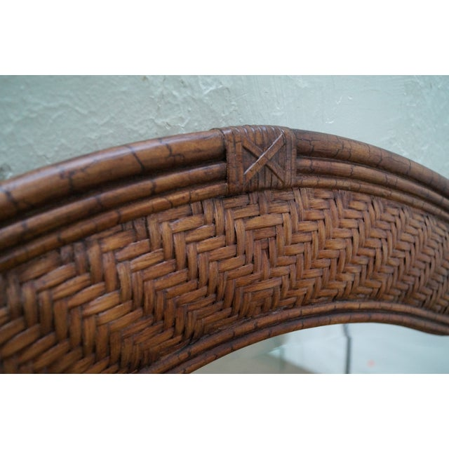 Lexington Tommy Bahama Rattan Frame Beveled Mirror For Sale - Image 7 of 10