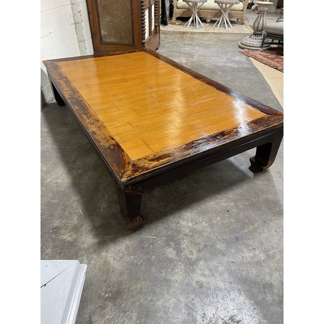 Oversized Ming Bamboo and Wood Kang Coffee Table For Sale In Richmond - Image 6 of 8