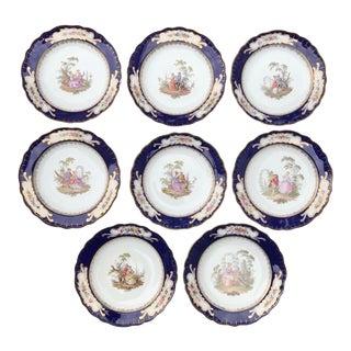 Antique Meissen Scalloped Cobalt Blue Pastoral Scenic Cabinet Plates - Set of 8 For Sale