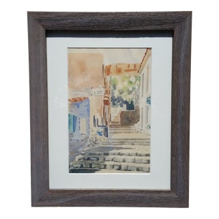 20th Century Imperialism Original Watercolor on Paper of a Greek Village