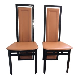 Art Deco Inspired Roche Bobois Leather and Lacquer Dining Chairs - a Pair