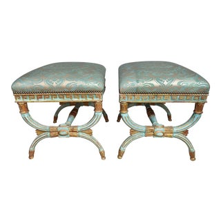 Pair of French Regency Style Painted Benches For Sale