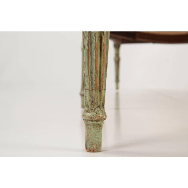 Wood French Louis XVI Period Antique Green Painted Sofa Canapé Settee, 18th Century For Sale - Image 7 of 10