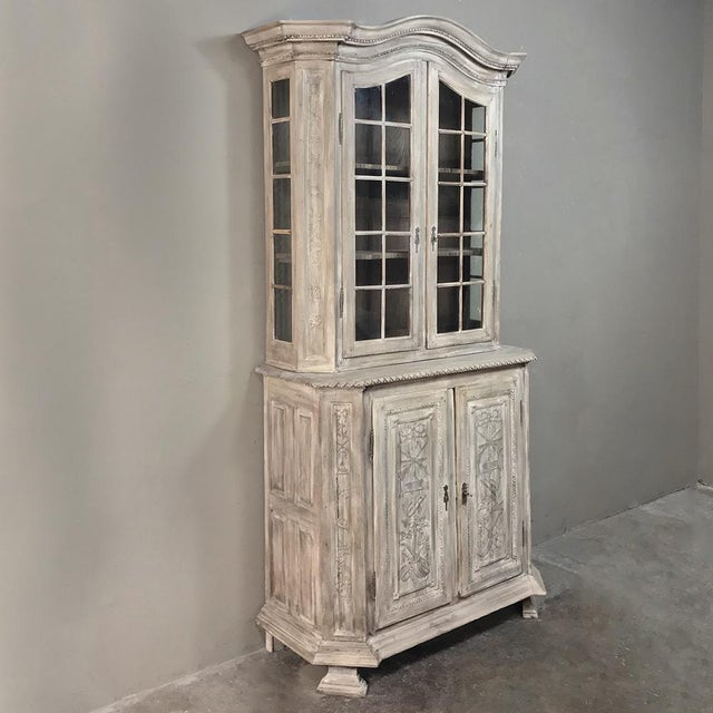 19th Century Country French Louis XVI Stripped Bookcase ~ Vitrine For Sale - Image 4 of 13
